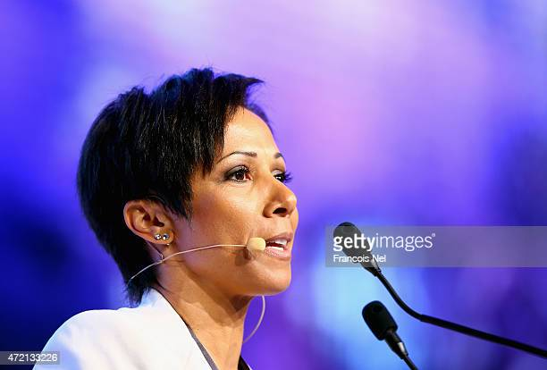Dame Kelly Holmes speaks during the Third International Sports Conference for Women at Emirates Palace on May 4, 2015 in Abu Dhabi, United Arab...