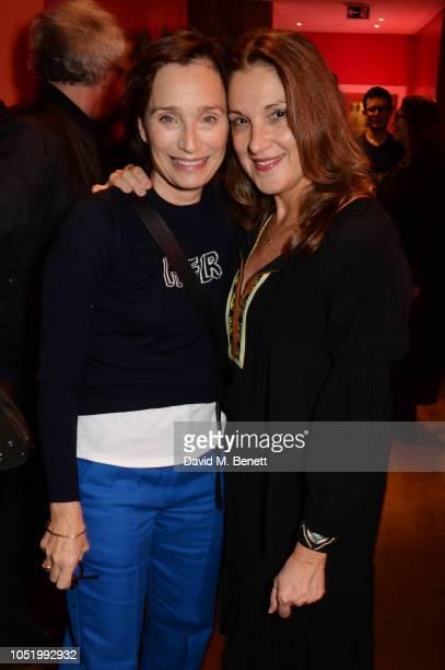 Dame Kristin Scott Thomas and Barbara Broccoli attend a screening of Alfonso Cuaron's Roma hosted by Netflix David Heyman at The Ham Yard Hotel on...