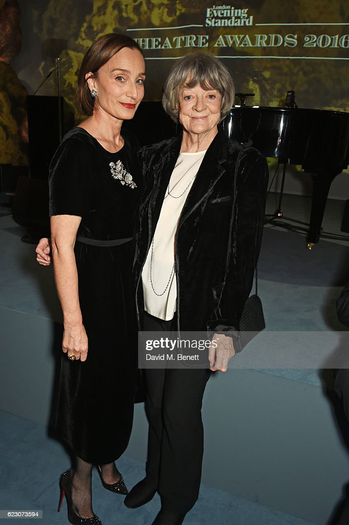 Dame Kristin Scott Thomas (L) and Dame Maggie Smith attend the 62nd London Evening Standard Theatre Awards, recognising excellence from across the world of theatre and beyond, at The Old Vic Theatre on November 13, 2016 in London, England.