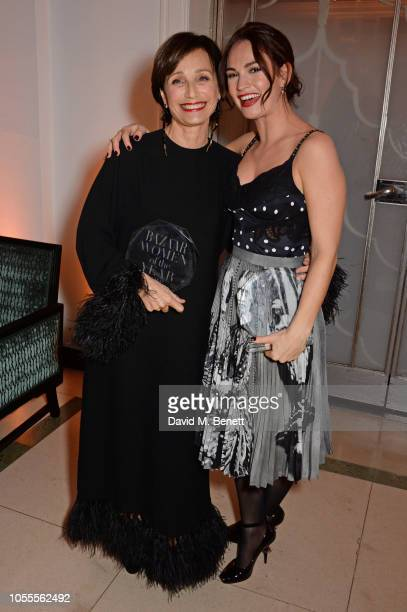 Dame Kristin Scott Thomas and Lily James attend the Harper's Bazaar Women Of The Year Awards 2018 in partnership with Michael Kors and MercedesBenz...