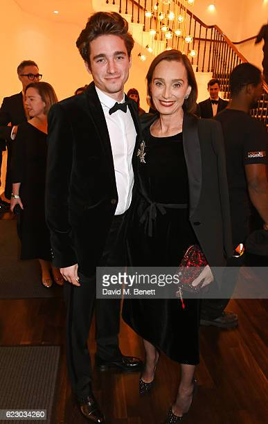 Dame Kristin Scott Thomas and son Joseph Olivennes attend a cocktail reception at The 62nd London Evening Standard Theatre Awards recognising...