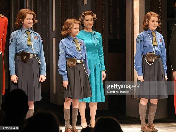 Dame Kristin Scott Thomas and Young Elizabeth's Madeleine Jackson Smith Marine Brighton and Izzy MeikleSmall bow at the curtain call during the press...
