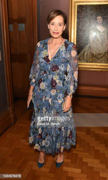 Dame Kristin Scott Thomas attends the Erdem front row during London Fashion Week September 2018 at the National Portrait Gallery on September 17 2018...