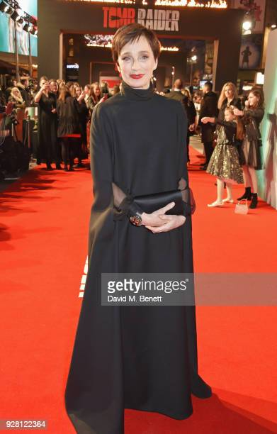 Dame Kristin Scott Thomas attends the European Premiere of 'Tomb Raider' at Vue West End on March 6 2018 in London England