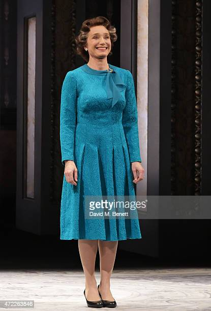 Dame Kristin Scott Thomas bows at the curtain call during the press night performance of 'The Audience' at The Apollo Theatre on May 5 2015 in London...