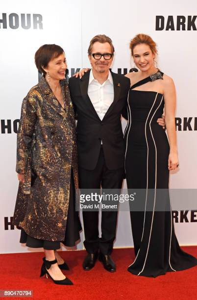 Dame Kristin Scott Thomas Gary Oldman and Lily James attend the UK Premiere of 'Darkest Hour' at Odeon Leicester Square on December 11 2017 in London...