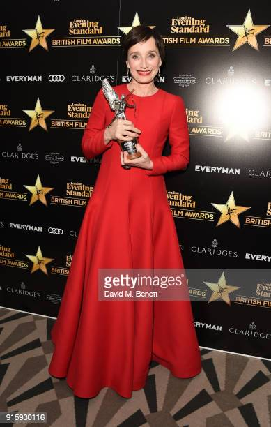 Dame Kristin Scott Thomas poses with the Best Actress award for 'The Party' at the London Evening Standard British Film Awards 2018 at Claridge's...