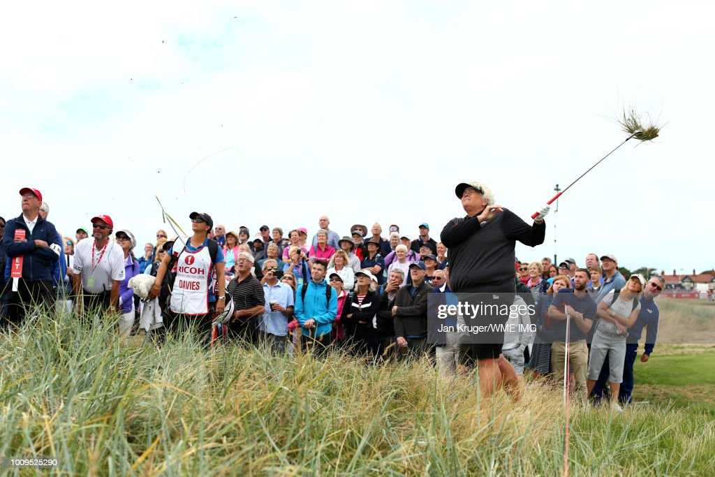 Dame Laura Davies hits from the rough on the 2nd hole during the first round of the Ricoh Women's British Open at Royal Lytham & St. Annes on August 2, 2018 in Lytham St Annes, England.