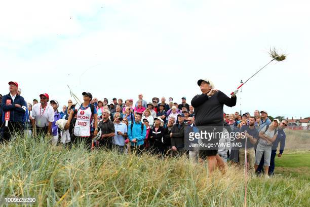 Dame Laura Davies hits from the rough on the 2nd hole during the first round of the Ricoh Women's British Open at Royal Lytham St Annes on August 2...