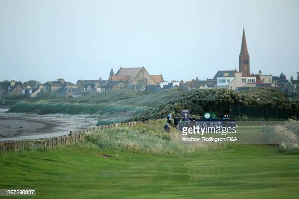 Dame Laura Davies of England plays the opening shot off the 1st tee during Day One of the 2020 AIG Women's Open at Royal Troon on August 20 2020 in...