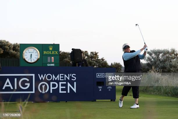 Dame Laura Davies of England plays the opening shot off the 1st tee during Day One of the 2020 AIG Women's Open at Royal Troon on August 20, 2020 in...