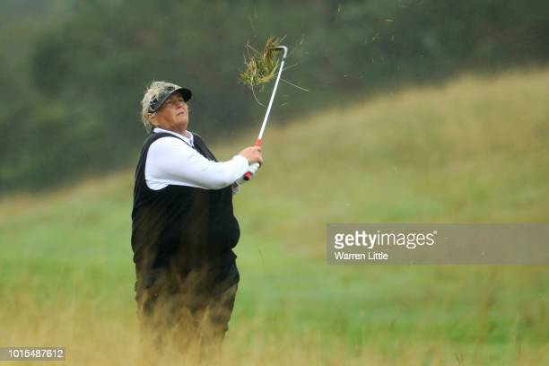 Dame Laura Davies of Great Britain 1 hits her third shot on the 16th hole during the team competition foursomes semifinals during day five of the...