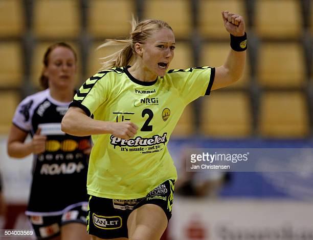 Dame Ligaen Gite Brøgger Led SK Århus celebrating a goal © Jan Christensen / Frontzonesportdk