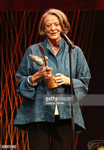 Dame Maggie Smith accepts the Best Actress award for 'The Lady In The Van' at the London Evening Standard British Film Awards at Television Centre on...