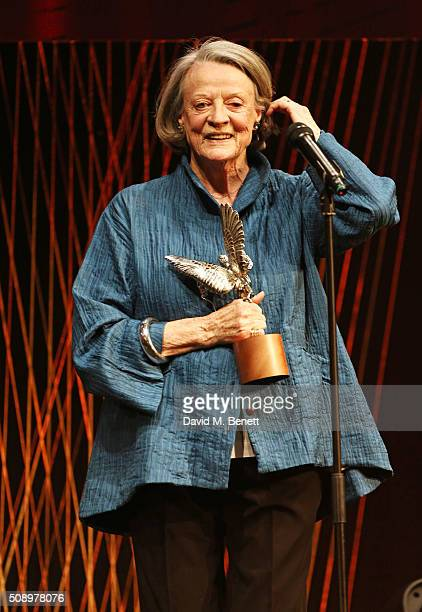 Dame Maggie Smith accepts the Best Actress award for The Lady In The Van at the London Evening Standard British Film Awards at Television Centre on...