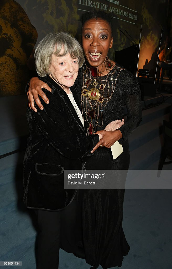 Dame Maggie Smith (L) and Noma Dumezweni attend the 62nd London Evening Standard Theatre Awards, recognising excellence from across the world of theatre and beyond, at The Old Vic Theatre on November 13, 2016 in London, England.