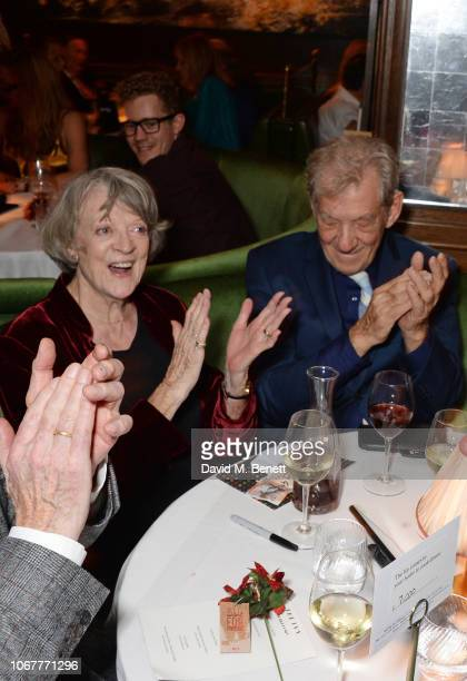 Dame Maggie Smith and Sir Ian McKellen attend the annual 'One Night Only At The Ivy' in aid of Acting For Others on December 2 2018 in London England