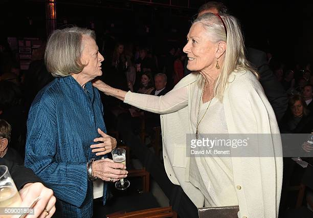 Dame Maggie Smith and Vanessa Redgrave attend a champagne reception at the London Evening Standard British Film Awards at Television Centre on...