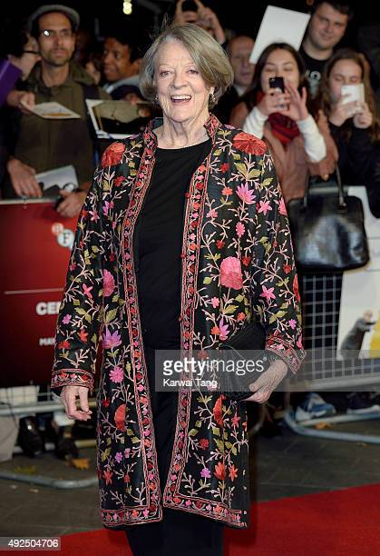 Dame Maggie Smith attends a screening of The Lady In The Van during the BFI London Film Festival at Odeon Leicester Square on October 13 2015 in...