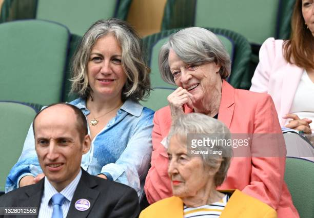 Dame Maggie Smith attends day 12 of the Wimbledon Tennis Championships at the All England Lawn Tennis and Croquet Club on July 10, 2021 in London,...