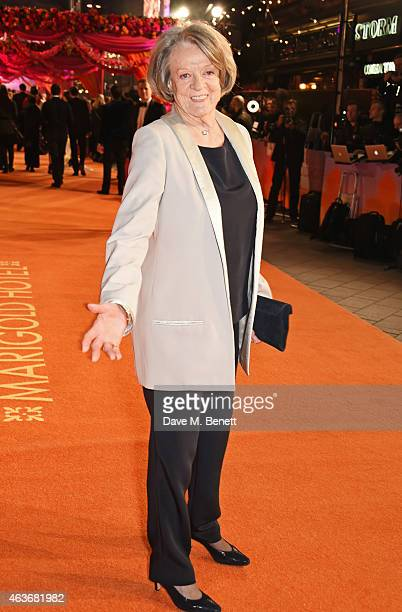 Dame Maggie Smith attends The Royal Film Performance and World Premiere of The Second Best Exotic Marigold Hotel at Odeon Leicester Square on...