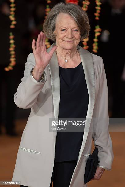 Dame Maggie Smith attends The Royal Film Performance and World Premiere of 'The Second Best Exotic Marigold Hotel' at Odeon Leicester Square on...