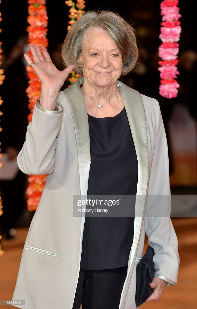 Dame Maggie Smith attends The Royal Film Performance and World Premiere of 'The Second Best Exotic Marigold Hotel' at Odeon Leicester Square on February 17, 2015 in London, England.
