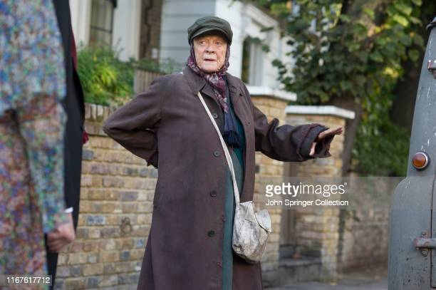 Dame Maggie Smith in a scene from Alan Bennett's The Lady In The Van directed by Nicholas Hytner in 2014 in London UK