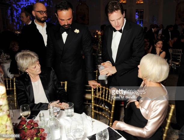 Dame Maggie Smith Owner of the London Evening Standard Evgeny Lebedev Deputy Prime Minister Nick Clegg and Dame Helen Mirren attend the 59th London...