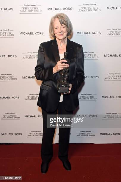 Dame Maggie Smith, winner of Natasha Richardson Award for Best Actress Award in partnership with Christian Louboutin for 'A German Life' poses in the...