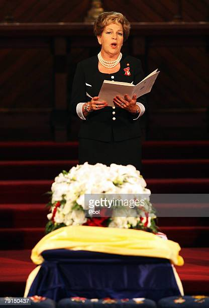 Dame Malvina Major sings a hymn during the State Funeral for Sir Edmund Hillary at St Marys Church on January 22, 2008 in Auckland, New Zealand....