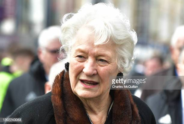 Dame Mary Peters arrives as the funeral of former Manchester United and Northern Ireland footballer Harry Gregg takes place on February 21 2020 in...