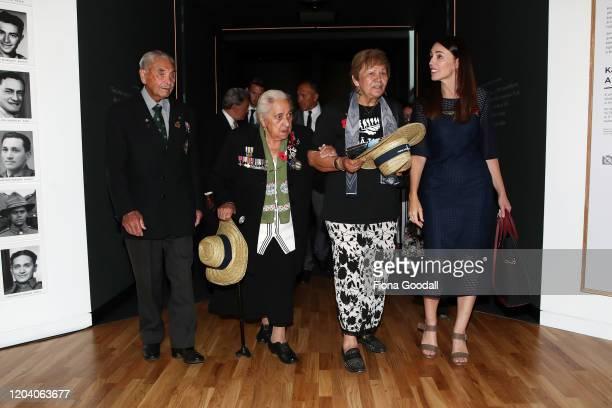 Dame Naida Glavish New Zealand Prime Minister Jacinda Ardern Maori Battalion widow Wikitoria Wright and Robert Bom Gillies one of only two surviving...