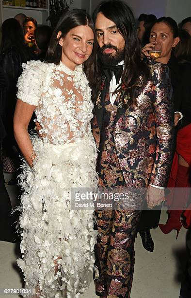Dame Natalie Massenet and Alessandro Michele attend The Fashion Awards 2016 after party hosted by The British Fashion Council at 180 The Strand on...