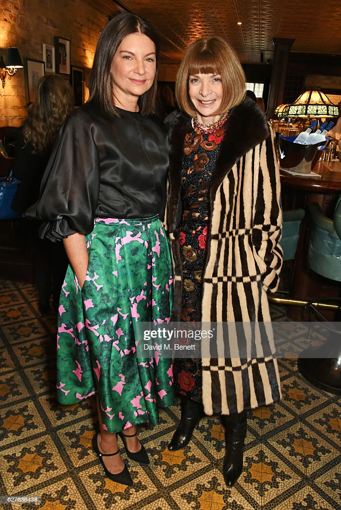 Dame Natalie Massenet (L) and Anna Wintour attend The Fashion Awards in partnership with Swarovski nominees' lunch hosted by the British Fashion Council with Grey Goose at Little House Mayfair on December 4, 2016 in London, England.