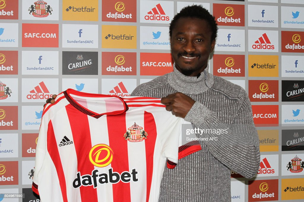 Dame N'Doye is unveiled as Sunderland's new loan signing at The Academy of Light on January 12, 2016 in Sunderland, England.