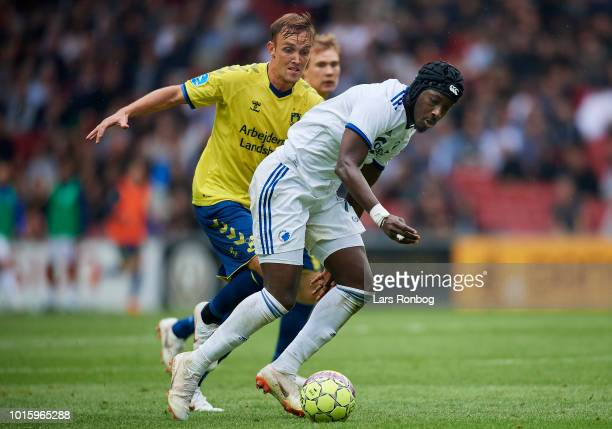Dame N'Doye of FC Copenhagen and Lasse Vigen Christensen of Brondby IF compete for the ball during the Danish Superliga match between FC Copenhagen...
