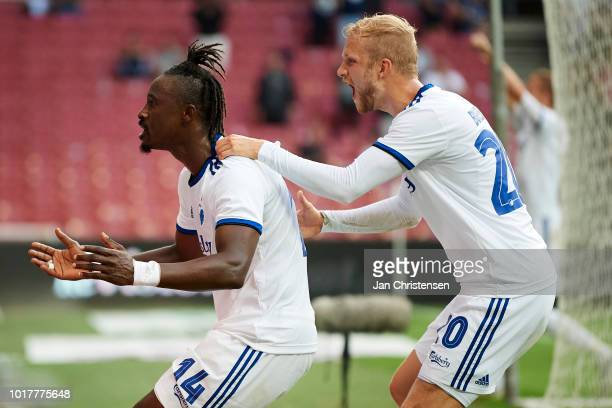 Dame N'Doye of FC Copenhagen and Nicolai Boilesen of FC Copenhagen celebrate after the 21 goal from Dame N'Doye during the UEFA Europa League...