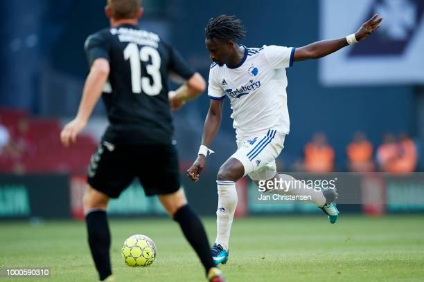 Dame N'Doye of FC Copenhagen controls the ball during the Danish Superliga match between FC Copenhagen and AC Horsens at Telia Parken Stadium on July...