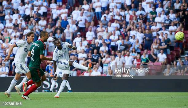 Dame N'Doye of FC Copenhagen scores the 20 goal during the Danish Superliga match between FC Copenhagen and AaB Aalborg at Telia Parken Stadium on...