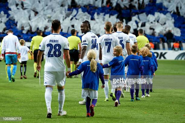 Dame N'Doye of FC Copenhagen smiling when the players walking on to the pitch prior to the UEFA Europa League match between FC Copenhagen and Slavia...