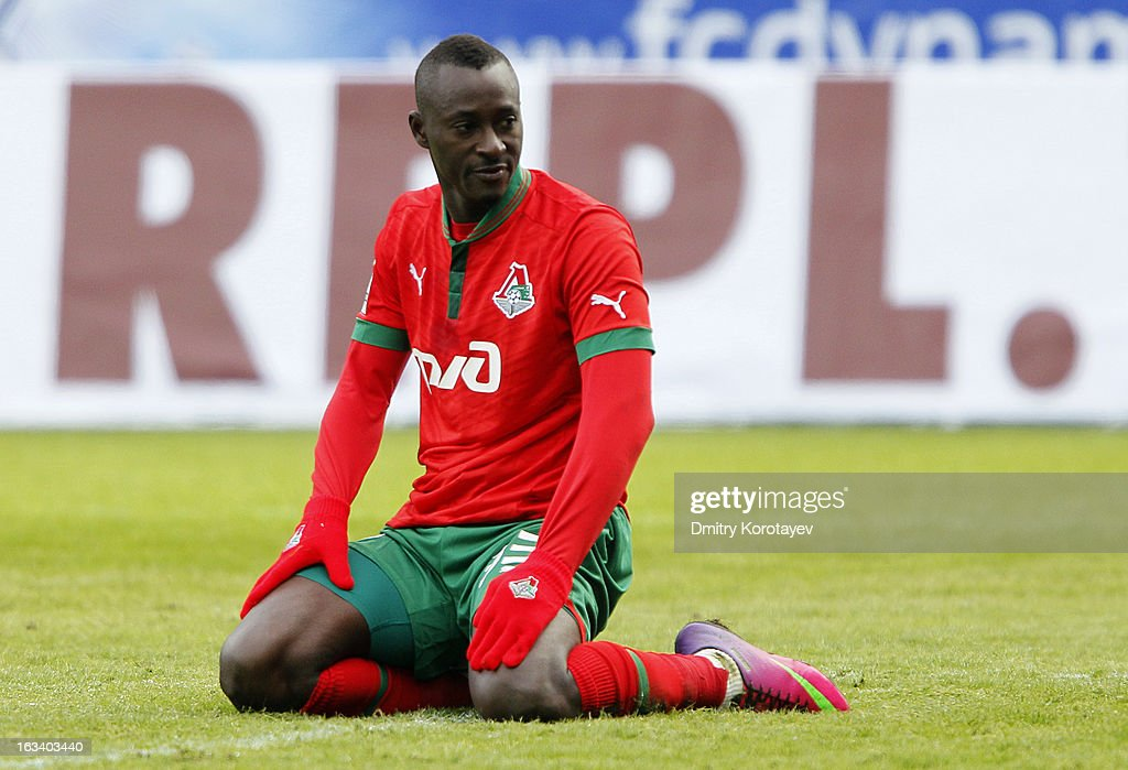 Dame N'Doye of FC Lokomotiv Moscow reacts during their Russian Premier League match against FC Lokomotiv Moscow at the Arena Khimki Stadium on March 09, 2013 in Khimki, Russia.