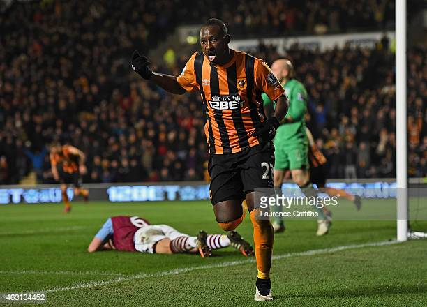 Dame N'Doye of Hull City celebrates after scoring is team's second goal during the Barclays Premier League match between Hull City and Aston Villa at...