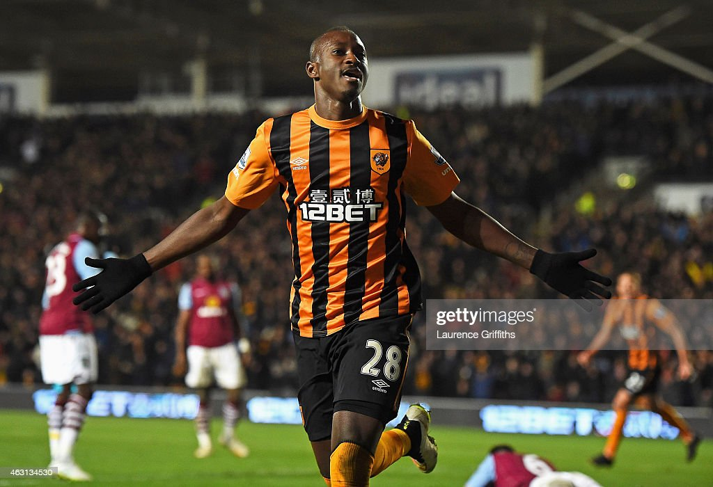 Dame N'Doye of Hull City celebrates after scoring is team's second goal during the Barclays Premier League match between Hull City and Aston Villa at the KC Stadium on February 10, 2015 in Hull, England.