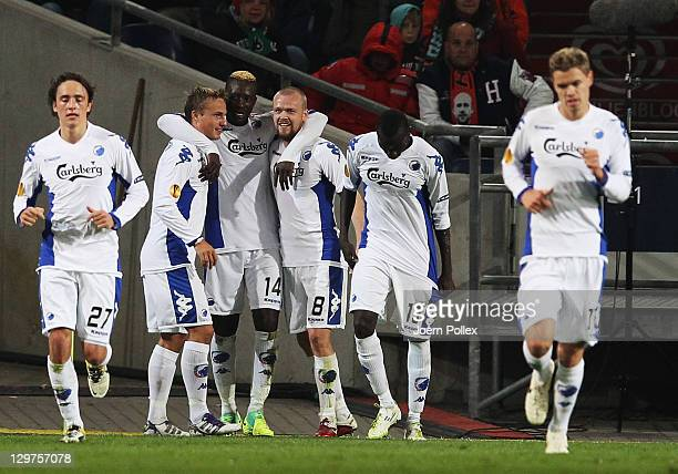 Dame N'Doye of Kobenhavn celebrates with his team mates after scoring his Team's first goal during the UEFA Europa League Group B match between...