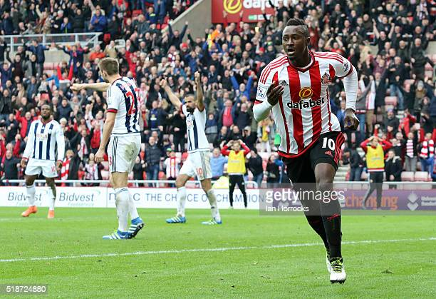 Dame N'Doye of Sunderland celebrates but his late effort is ruled offside during the Barclays Premier League match between Sunderland and West...