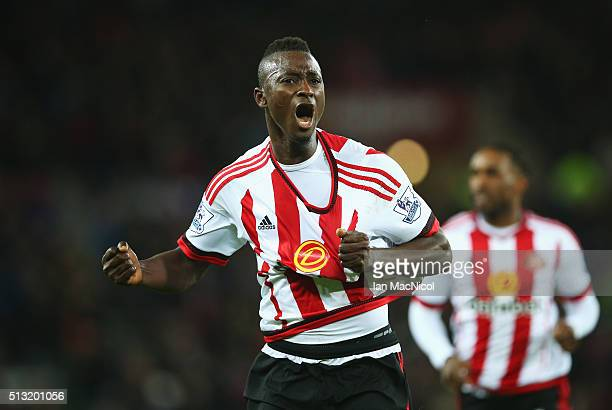 Dame N'Doye of Sunderland celebrates scoring his team's first goal during the Barclays Premier League match between Sunderland and Crystal Palace at...