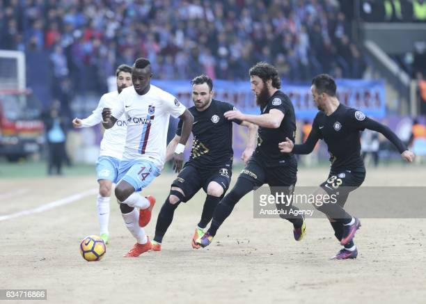 Dame N'Doye of Trabzonspor is in action during the Turkish Spor Toto Super Lig soccer match between Osmanlispor and Trabzonspor at Osmanli Stadium in...
