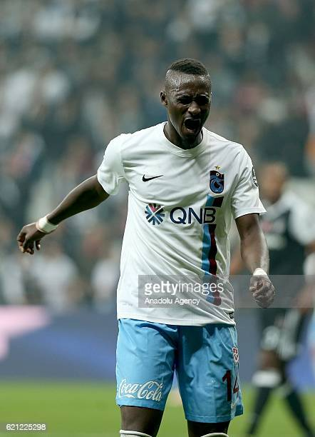 Dame NDoye of Trabzonspor reacts during the Turkish Spor Toto Super Lig football match between Besiktas and Trabzonspor at Vodafone Arena in Istanbul...