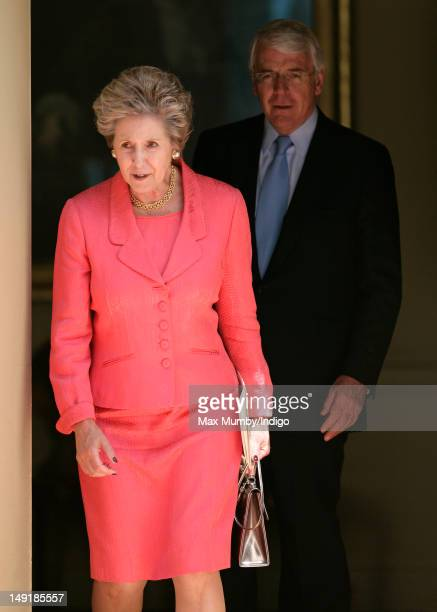 Dame Norma Major and Sir John Major leave after attending a lunch hosted by Prime Minister David Cameron for Queen Elizabeth II and former Prime...